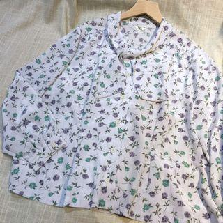 🚚 日本製 古着 輕薄夏日小碎花衫 vintage 雪紡 有備釦