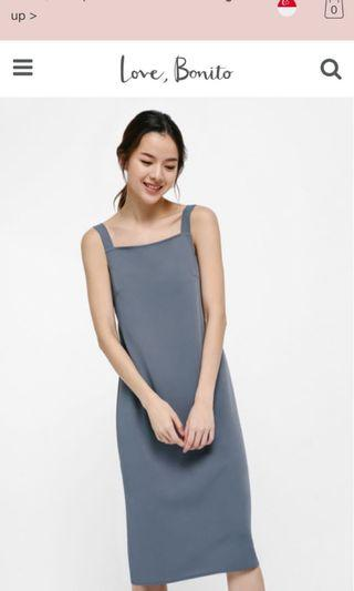 LB Crystal Relaxed Fit Midi Dress (Dusty Blue)