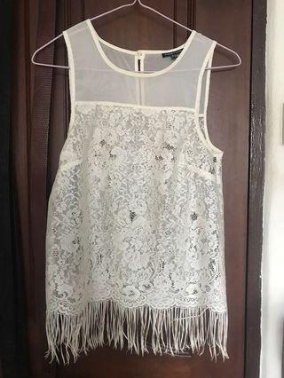 🚚  Warehouse white lace top with fringe