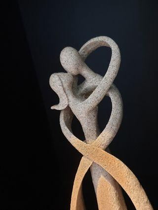 Ceramic Grey Figures Embrace Love Dance Decor