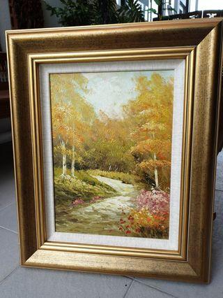Oil painting art with thick frame
