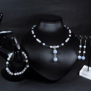 珍珠林~提升能量與淨化~經典設計款~硨磲貝珍珠天然巴西藍紋Y字項鍊~經典設計#553