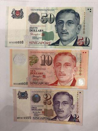 Singapore Currency Fancy no. $50, 10 & $2