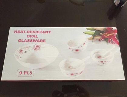 Brand New 9 Pcs Heat Resistant Opal Glassware For Sale