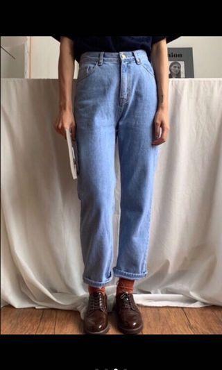 92pleats 日常九分刷色牛仔褲