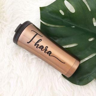 Stylish bronze personalised tumbler personalised gift stainless steel vacuum bottle personalised Mug cup office style gift farewell party favours graduation gift
