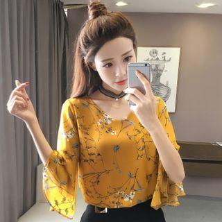 Women Korean Fashion Trumpet Sleeve Floral Loose Chiffon Shirt [Navy/White/Yellow]