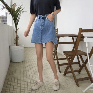 Women Korean Fashion Summer Chic Wild A Cut Denim Skirt
