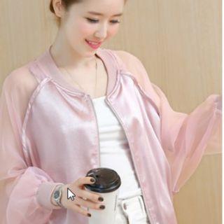 Women Korean Fashion Bat Style Loose Thin Sleeved Baseball Jacket Coat [White/Pink/]
