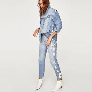[BNWT] Zara Light Jeans With Lace Up Side