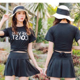 Women Korean Fashion Boxer Skirt Two Piece Conservative Swimwear [Black/Green/Navy]