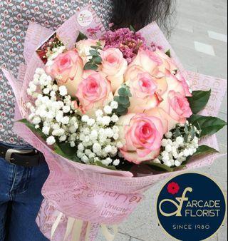 "10 Stalks ""duo-toned"" Pink Kenya Roses Bouquet | Rose Flower | Flower Bouquet | Flower | Flowers | Fresh Flower | Rose | Roses"