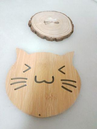BN Cat Pusheen planter log genuine wood plant base pot stand