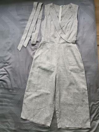 Grey lapel collar jumpsuit