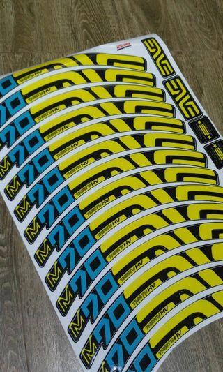 Enve M70 Yellow Turquoise 27.5 Rims Decals