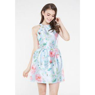 *INTQ LABEL* EVENSONG FLORAL KEYHOLE DRESS IN BLUE