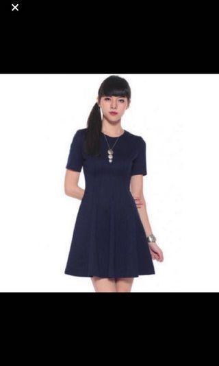 Love Bonito Natashia Skater Dress in Navy XS