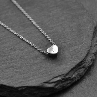 Personalised Hand-stamped Initial Heart Charm Necklaces