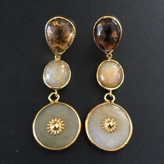 (Reserved) Smoky Quartz with Burmese jade dangling earrings