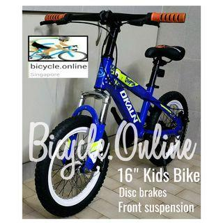 "Children /Kids 16"" Bicycle. Disc brakes & front suspensions. Brand new. *option to install training wheels."