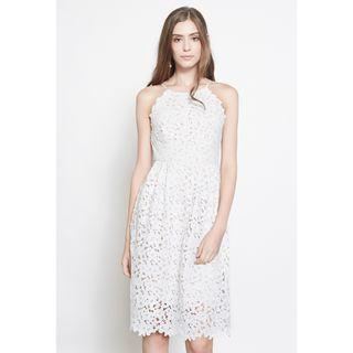*INTQ LABEL* DANIQUE CROCHET LACE DRESS IN WHITE