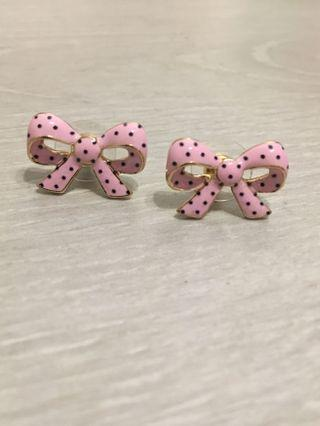 Japan Design Pink Bow Polka Dot Earrings