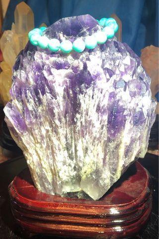 巴西/教堂骨幹水晶/紫水晶/原礦附訂製木底座