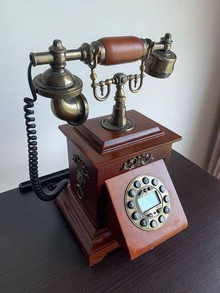 Vintage Rotary Phone/Retro Telephone with Wood and Metal Body