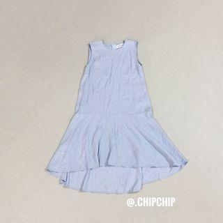 (XS) TEM Asymmetrical Ruffle Hem Dress in Baby Blue