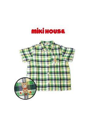 全新·專櫃正品*日本miki house雀斑熊 男童小口袋格子短袖上衣/短袖襯衫(100cm)
