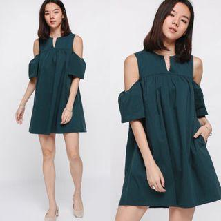 (XS) Love Bonito Unelina Cutout Shoulder Dress in Teal