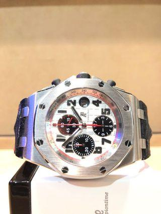 "Pre Owned Audemars Piguet Royal Oak Offshore 26170ST ""Panda"" Silver Dial Automatic Steel Casing Leather"