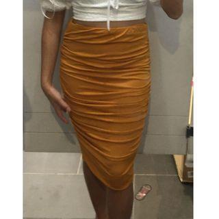 Mustard Scrunched Midi Contour High Waist Skirt