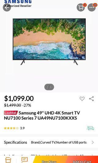 🚚 Samsung 49 inch UHD 4k Smart TV Curve 3 years warranty