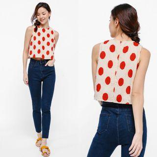 (S) Love Bonito Nija Polka Dot Print Textured Crop Top