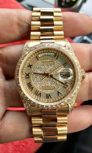 "🔥🔥🔥Rolex Daydate 18388, 18k Solid Gold with MOP (Mother Of Pearl) & Diamond Dial Edition ""A Legend Among Rolex Daydate Time piece"". (Islandwide local & oversea AD Totally Sold out model) #EndYourGameExcess"