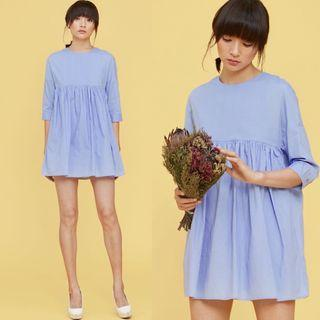 (XS) Fashmob Babydoll Playsuit Dress in Periwinkle Blue