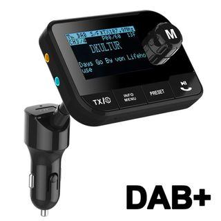 "Blufree DAB+ Adapter, 2.3"" Display DAB Digital Radio Bluetooth FM Transmitter Handsfree Call & Music Streaming Car Kits+Play TF Card 64G +3.5mm AUX Out+3M Active DAB Antenna+USB Car Charger"