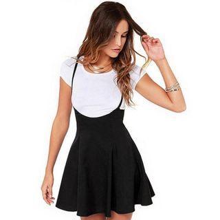 Mini Black Flare Skirt | Under-Bust | High-Waist | Overall Style