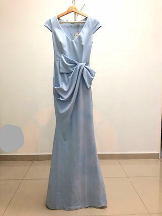 [Nego] Goddiva London Cap Sleeves Maxi Dress with Bow Drape in Powder Blue #Paradigm