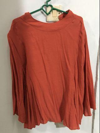 #BAPAU merah brick / orange blouse
