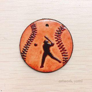 客製化/皮雕/鑰匙圈-棒球/免費烙字/手作皮革飾品/含運費(不議價)