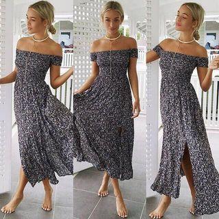 🚚 Off Shoulder Floral Maxi Slit Navy Dress