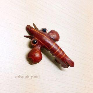 客製化/立體皮雕/鑰匙圈-龍蝦/免費烙字/手作皮革飾品/含運費(不議價)