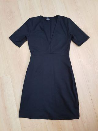 Zara Trafaluc Black Corporate Bodycon V Dress
