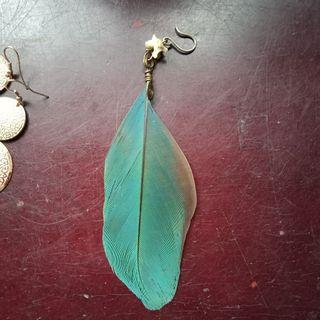 Individual EARING | Unique Boned Spiral Feather Duo-Coloured Stand Out Style
