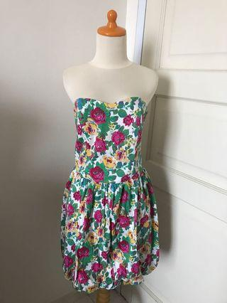 Panelli Colorful Floral Tube Dress