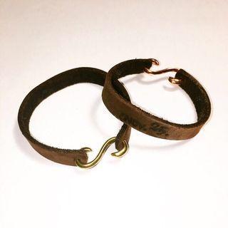客製化/皮雕/s鉤手環/皮革手作飾品/免費烙字/含運費(不議價)