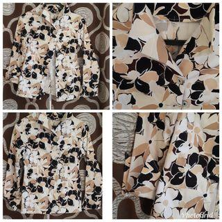 Atasan top bunga2 / blouse coklat / blus kerja / blus baru / atasan bunga2  / blus cantik / atasan lengan panjang / free ongkir