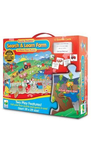 The learning journey puzzle doubles search & learn farm 50 piece floor puzzle